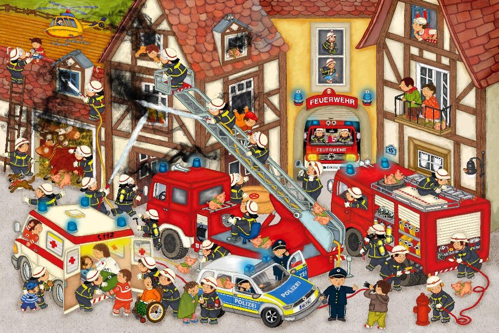 Wimmelbild Feuerwehr
